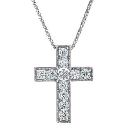 【送料無料】Crossfor New York クロスフォーニューヨーク NYP-618 Dancing Stone Cross [シルバーネックレス]