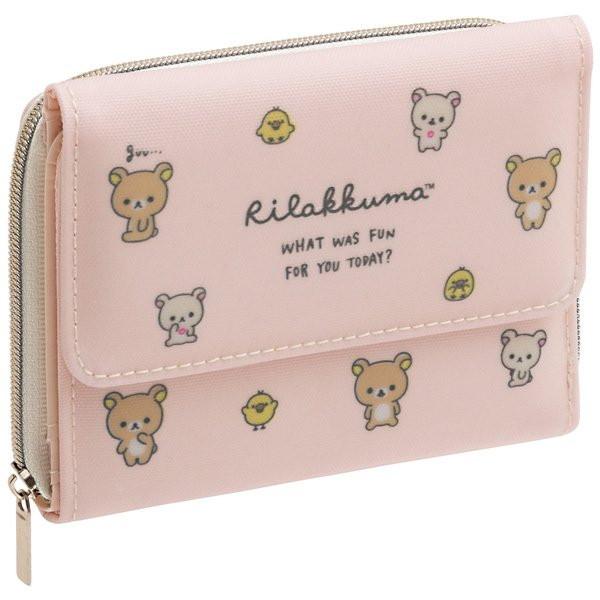 小さめバッグにも収まるコンパクトなミニ財布 着後レビューで 送料無料 San-X ワレット 『1年保証』 リラックマ ピンク WL35001 お財布
