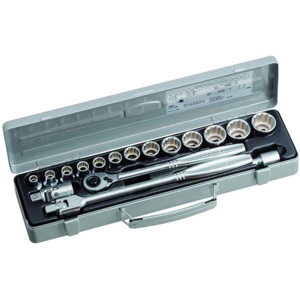 信頼の高品質、TONEのスチールケース付ソケットレンチセットです。差込角12.7mm、全18点セット。 TONE 750MH [ ソケットレンチセット ]