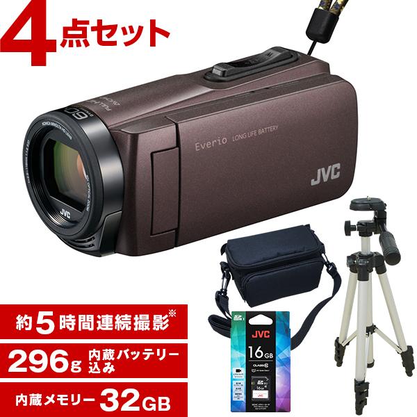 【送料無料】JVC ビデオカメラ 32GB 大容量バッテリー GZ-F270-T ブラウン Everio 三脚&バッグ&メモリーカード(16GB)付きセット 長時間録画 旅行 成人式 卒園 入園 卒業式 入学式に必要なもの 結婚式 出産 アウトドア 学芸会 小型 小さい