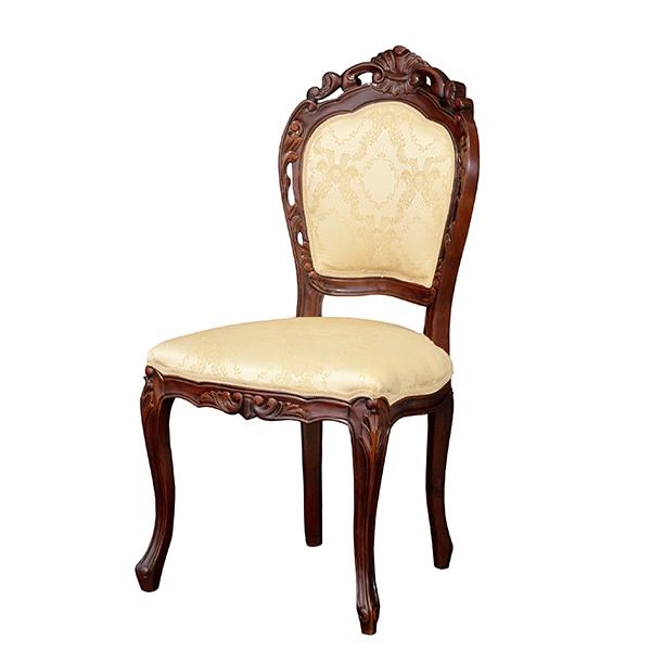 天然木を使用した 高級感あふれる手彫り仕上げのチェアーです チェア 高級な 椅子 アンティーク調 ひじ無し 猫脚 ダイニング 木製 高級感 天然木 クロシオ エレガント オンラインショップ 90021 北欧 メーカー直送 おしゃれ ブラウン