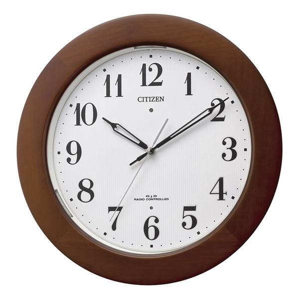 【送料無料】CITIZEN(シチズン) 自動点灯掛時計 茶色半艶仕上 4MYA35-006
