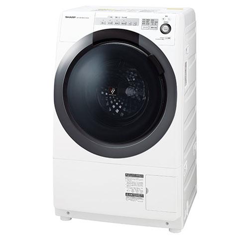 【送料無料】洗濯乾燥機 シャープ(SHARP) ES-S7C-WL ホワイト系 ななめ型ドラム式(洗濯7kg/乾燥3.5kg)左開き 一般的な防水パンに置けるコンパクトドラム 静かで省エネ インバーター制御 水で洗えない衣類もすっきり消臭 4種類のセンサーでムダのない節水お洗濯