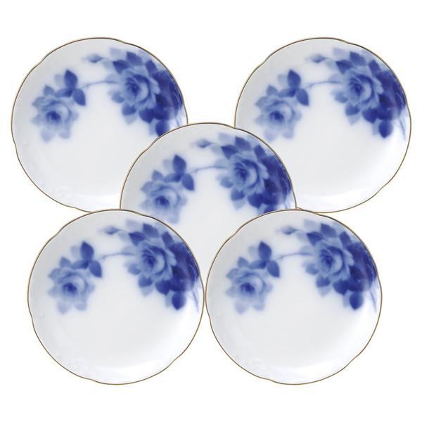 【送料無料】大倉陶園 ブルーローズ 銘々皿セット 54HV/8011