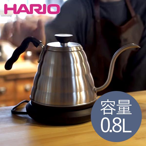 【送料無料】ケトル 電気 コーヒー おしゃれ ハリオ(HARIO) EVKT-80HSV V60 ヴォーノ [電気ケトル (0.8L)] パワーケトル 温度調整 空焚き防止 オートパワーオフ ステンレス Buono