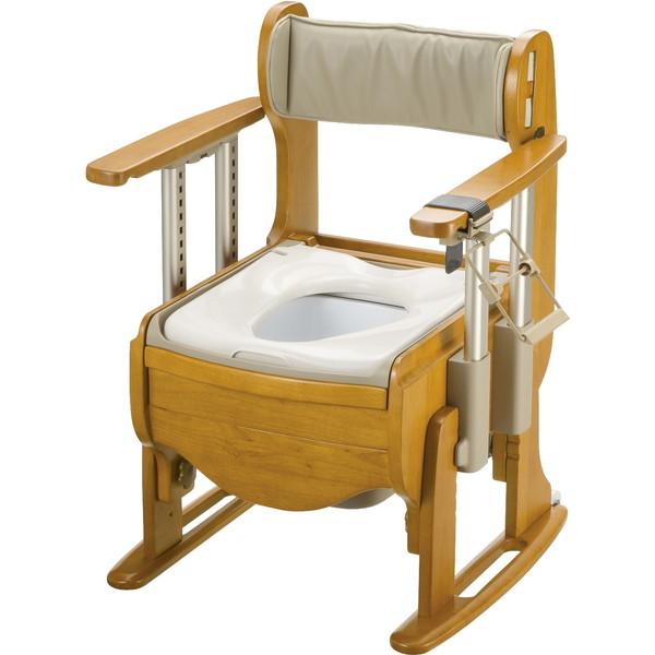 【送料無料】Richell(リッチェル) 木製トイレ きらく座優 肘掛昇降 普通便座 [介護 福祉 医療 病院 介助]