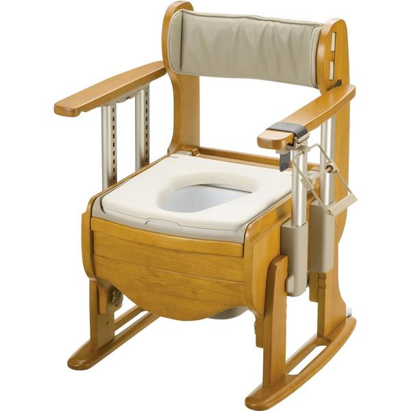 【送料無料】Richell(リッチェル) 木製トイレ きらく座優 肘掛昇降 やわらか便座 [介護 福祉 医療 病院 介助]