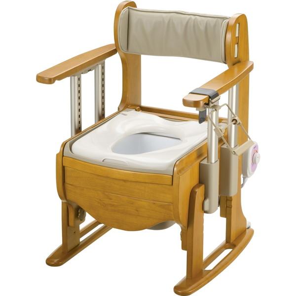 【送料無料】Richell(リッチェル) 木製トイレ きらく座優 肘掛昇降 暖房便座 [介護 福祉 医療 病院 介助]