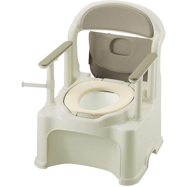 【送料無料】Richell(リッチェル) ポータブルトイレきらくPY2型 グレー やわらか [介護 福祉 医療 病院 介助]