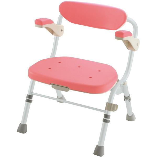 Richell(リッチェル) 折りたたみシャワーチェアR型 肘掛け付 ピンク 標準 [介護 福祉 医療 病院 介助 浴室 お風呂 おふろ]