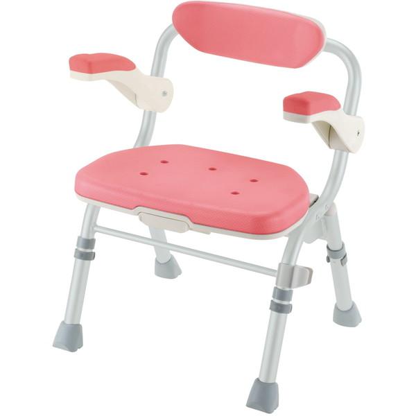 【送料無料】Richell(リッチェル) 折りたたみシャワーチェアJ型肘掛付 ピンク [介護 福祉 医療 病院 介助]