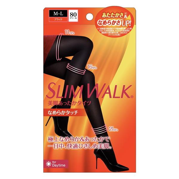 極上なめらか あったかで一日中 快適美脚 ピップ 人気ブレゼント スリムウォーク ML 新色追加して再販 なめらかタッチ ブラック 美脚あったかタイツ