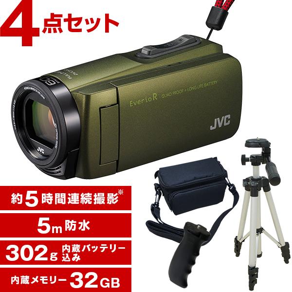 【送料無料】JVC(ビクター/VICTOR) GZ-R470-G カーキ Everio R 三脚&バッグ&バッテリーグリップセット [フルハイビジョンメモリービデオカメラ(32GB)]