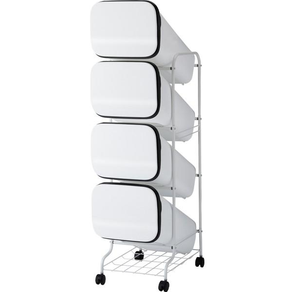 【送料無料】リス ゴミ箱 smooth スタンドダストボックス4P ホワイト