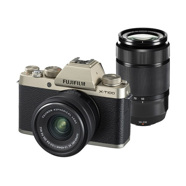 富士フィルム X-T100ダブルズームレンズキット シャンパンゴールド [ミラーレス一眼カメラ(2424万画素)]