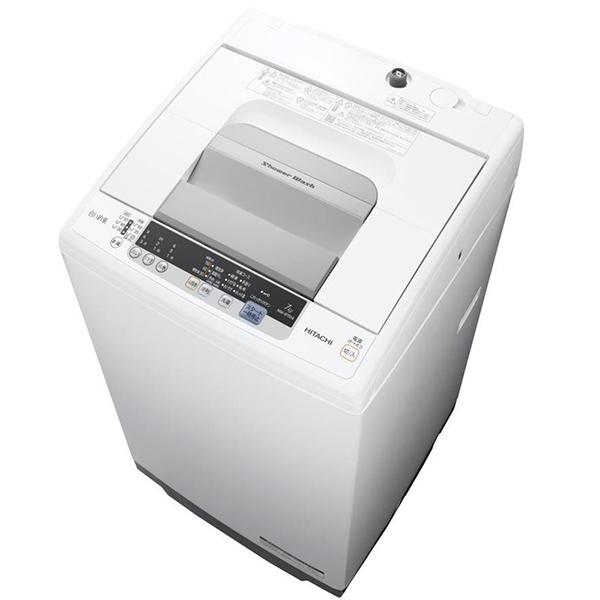 日立 洗濯機 白い約束 NW-R704-W 7kg 全自動洗濯機 シャワー浸透洗浄 風脱水 ほぐし脱水 ケース状糸くずフィルター 部屋干し 上開き 時間短縮