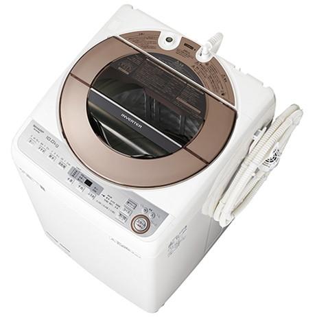 【送料無料】全自動洗濯機 シャープ SHARP ES-GV10C 白 ホワイト ブラウン 静か 静音 洗濯10kg 自動槽洗い 風呂水ポンプ 家族 同棲 カップル 大量 大容量