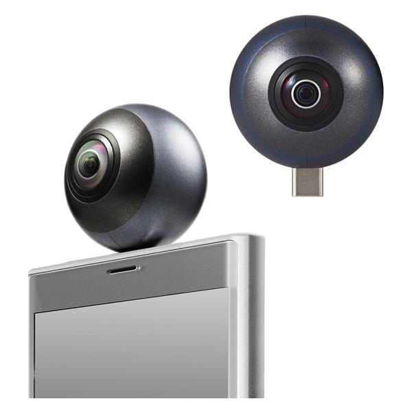 【送料無料】ELECOM OCAM-VRU01BK 360°カメラ 2K スマホ直挿しタイプ オムニショット ミニ ブラック 【同梱配送不可】【代引き・後払い決済不可】【沖縄・離島配送不可】