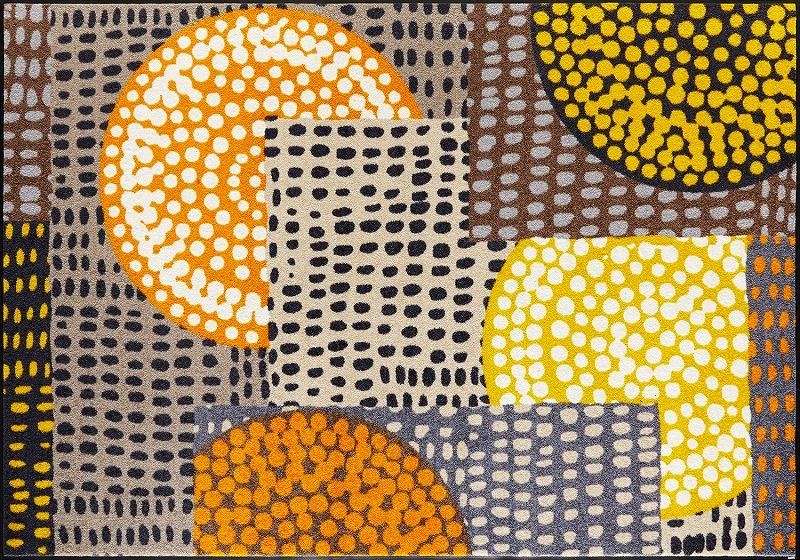 【送料無料】クリーンテックスジャパン C023K Ethno Pop orange 140×200cm[フロアマット 玄関マット ラグ デザインマット 滑り止めマット フローリング]【離島配送不可】