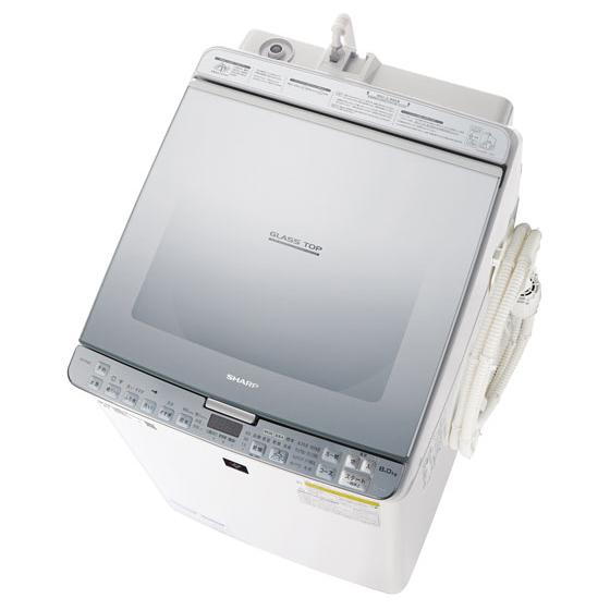 洗濯機 シャープ SHARP ES-PX8C-S 洗濯8kg 乾燥4.5kg 節水 省エネ 節電 プラズマクラスター 柔軟剤香りプラスコース ガラストップ 白 ホワイト シルバー デザイン おしゃれ