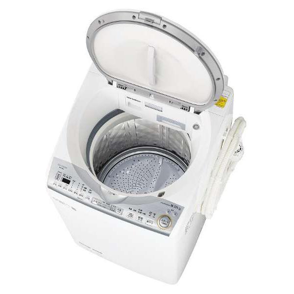 【送料無料】洗濯機 シャープ SHARP ES-TX8C-W 白 ホワイト 縦型衣類乾燥機 洗濯8kg 乾燥4.5kg ヒーター乾燥 上向き 時短 自動槽洗い プラズマクラスター 2人暮らし 同棲 家族