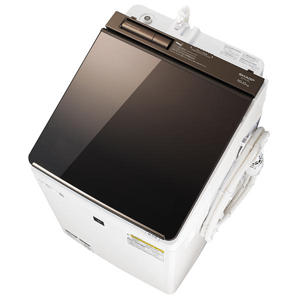 洗濯機 シャープ SHARP ES-PU10C-T 白 ホワイト ブラウン おしゃれ 洗濯10kg 乾燥5kg 超音波ウォッシャー付属
