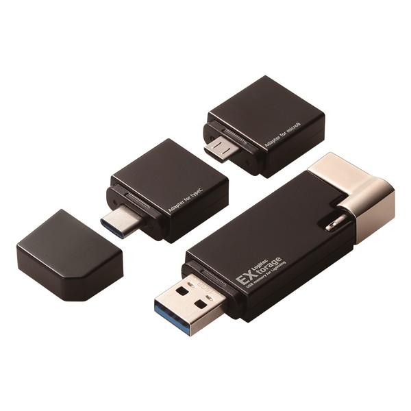 【送料無料】ロジテック LMF-LGU3A064GBK LightningUSBメモリ USB3.1(Gen1) USB3.0対応 64GB microUSB変換アダプタ+Type-C変換アダプタ付 【同梱配送不可】【代引き・後払い決済不可】【沖縄・離島配送不可】