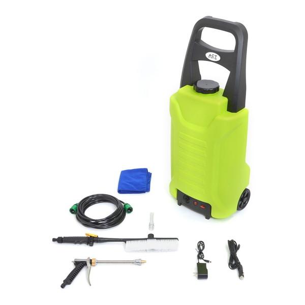 タンク式充電どこでも高圧洗浄機 サンコー ACTD2WS8 THANKO 水道ホースレス コードレス 35L バッテリー内臓 約30~40分稼働 タイヤ付き ACアダプター シガーアダプター ウォーターガン ウォッシュブラシ 7m洗浄ホース