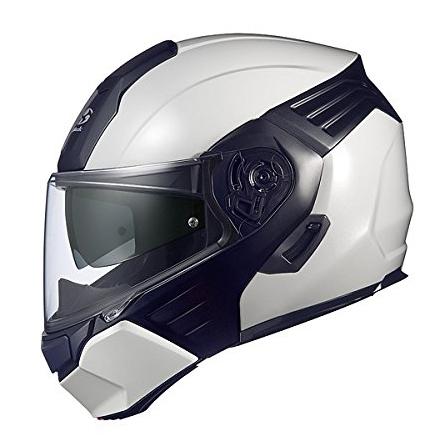 【送料無料】OGK KABUTO KAZAMI ホワイトメタリック/ブラック L [バイク用 システムヘルメット]