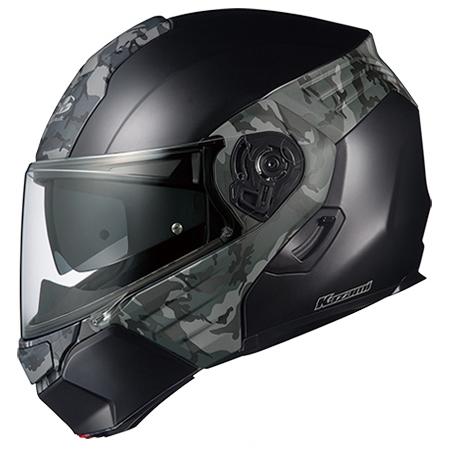 【送料無料】OGK KABUTO KAZAMI カモ フラットブラック/グレー S [システムヘルメット (オンロード用)]