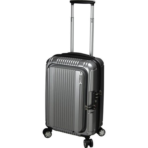 BERMAS PRESTIGE2 フロントオープン49c(スーツケース) 60261-22 シルバー 【機内持込対応可】容量:34L