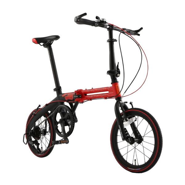 【送料無料】DOPPELGANGER 104-R-RD レッド x マットブラック [折り畳み自転車(16インチ・7段変速)]【同梱配送不可】【代引き不可】【沖縄・離島配送不可】