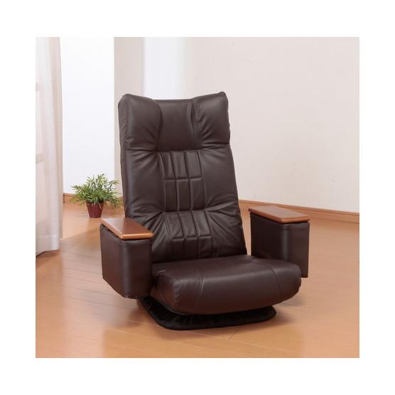【送料無料】ファミリー・ライフ 天然木肘付きリクライニング高座椅子(クッション付)HBブラウン (0322320)