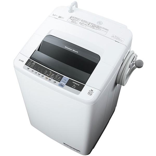 日立 HITACHI NW-80C(W) ピュアホワイト 白い約束 簡易乾燥機能付洗濯機 8kg 上開き 風脱水 ほぐし脱水 布ほぐし おしゃれ着洗い 部屋干し 風呂水ポンプ シャワー浸透洗浄 おいそぎコース 一人暮らし NW80CW