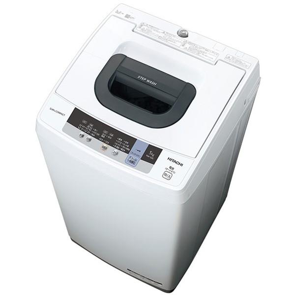 【送料無料】日立 HITACHI NW-50C(W) ピュアホワイト 白い約束 簡易乾燥機能付洗濯機 5kg ステンレス層 上開き 風脱水 おしゃれ着洗い 2ステップウォッシュ おいそぎコース 一人暮らし NW50CW