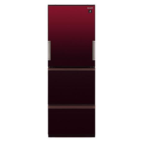冷蔵庫 シャープ SHARP SJ-GW36E-R 赤 レッド 350L 右開き 左開き 両開き どっちもドア プラズマクラスター 節電 3ドア 同棲 カップル