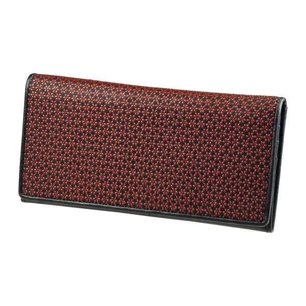 【送料無料】印伝 長財布 ブラックXレッド DRS1700-04
