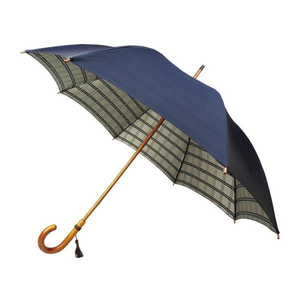 【送料無料】甲州織 裏格子樫棒手開き長傘 ネイビー UK626A