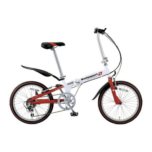 【送料無料】KCD SW-SK20W ホワイト×レッド スウィツスポート [折りたたみ自転車(20インチ・6段変速)]
