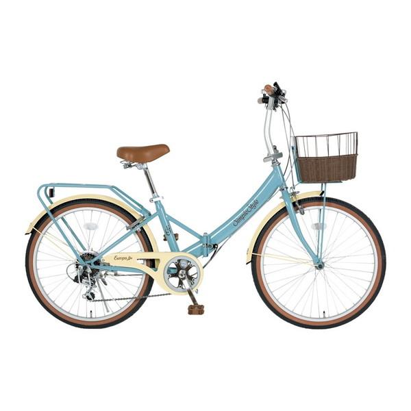 【送料無料】KCD SS-LD246RBS/PB-R8 グレイブルー シンプルスタイル EUROPA [折りたたみ自転車(24インチ・6段変速)]