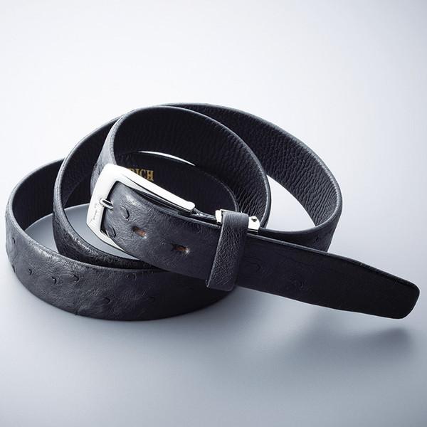 【送料無料】マレリー オーストリッチ ベルト ブラック MB20630