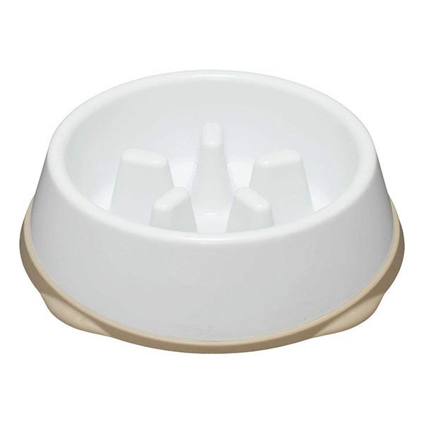 アイリスオーヤマ USO-445 ホワイト/ベージュ [早食い防止用食器(Mサイズ/高いタイプ)]