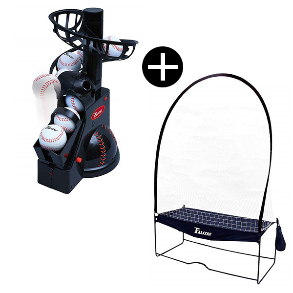 【送料無料】ボールマシン 野球 FALCON FTS-100 + 専用ネットセット バッティングマシン・前からトスマシン 発射角度3段階調整 電池式 野球用品 練習器具