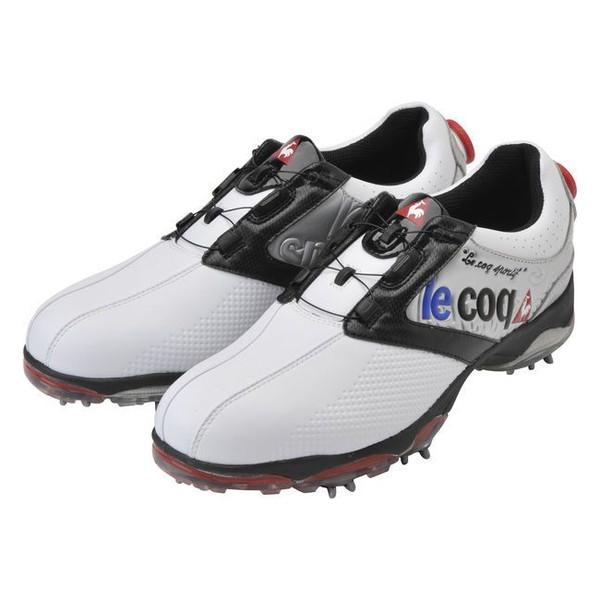 【送料無料】ルコック le coq sportif メンズゴルフシューズ ダイヤル式 ソフトスパイク QQ0596 XN40 ホワイト/シルバー/ブラック 27.5 【日本正規品】