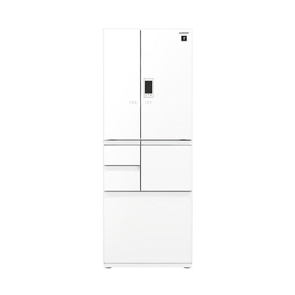 冷蔵庫 シャープ SHARP SJ-GA55E-W 白 ホワイト 550L フレンチドア ガラスドア 耐震ロック 電動アシストドア プラズマクラスター 鮮度