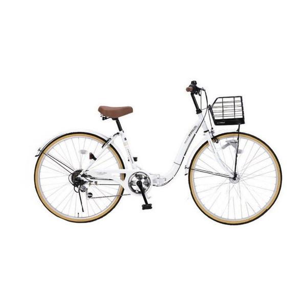 マイパラス M-509-W ホワイト PRINTEMPS [折り畳みシティサイクル(26インチ・シマノ6段変速)] 通勤 通学 学生 OL 街乗り 買い物 アウトドア サイクリング 運動 入学 メーカー直送