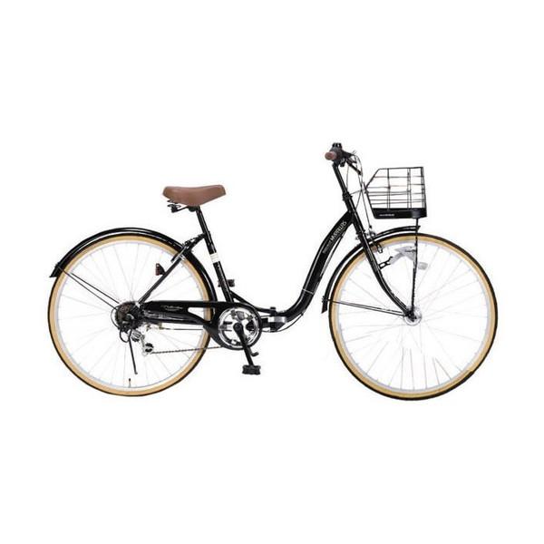 マイパラス M-509-BK ブラック PRINTEMPS [折り畳みシティサイクル(26インチ・シマノ6段変速)] 通勤 通学 学生 OL 街乗り 買い物 アウトドア サイクリング 運動 入学 メーカー直送