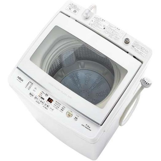 「しっかり洗う」「やさしく洗う」見えて安心ワイドガラストップ。 AQUA AQW-GV70H ホワイト [全自動洗濯機 (7.0kg)]