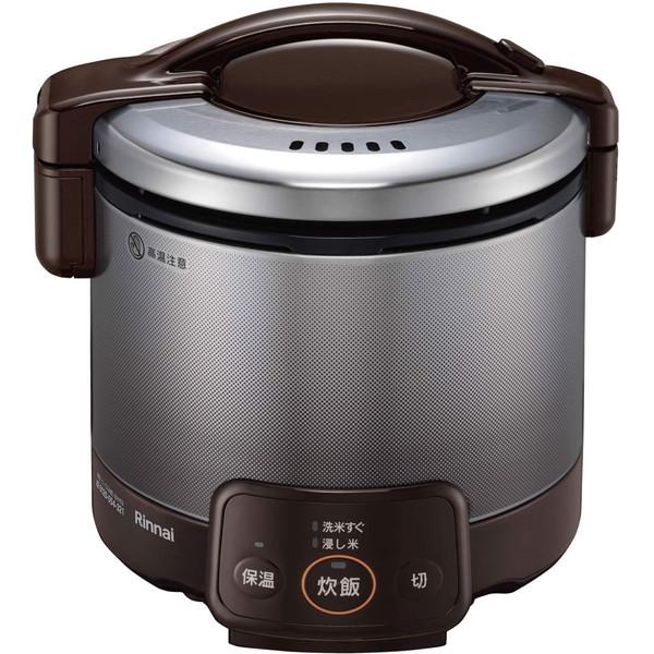 本店 直火のおいしさをお手軽に 保温機能付き Rinnai RR-030VQ DB -13A OUTLET SALE ガス炊飯器 ダークブラウン 都市ガス用 こがまる 3合炊き