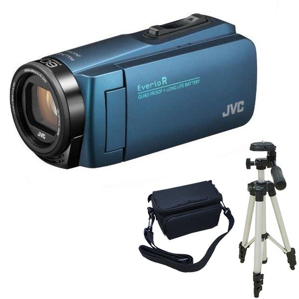 ビデオカメラ JVC GZ-R480-A ネイビーブルー + KA-1100 三脚 & バッグ 付きおすすめセット 長時間録画 Everio R ( エブリオ ) 防水 旅行 卒業式 入学式 卒園 入園 結婚式 出産 成人式 小型 小さい